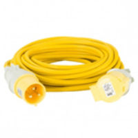 Defender 14m Extension Lead 32a 4mm Cable Yellow 110v